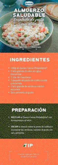 El desayuno de hoy puede ser delicioso y saludable con esta Ensalada de pasta con atún.   #recetas #receta #quesophiladelphia #philadelphia #crema #quesocrema #queso #comida #cocinar #cocinamexicana #recetasfáciles #recetasPhiladelphia #recetasdecocina #comer #pasta #atún #ensalada #ensaladas #verdura #recetaspasta #recetasensalada #recetassaludables