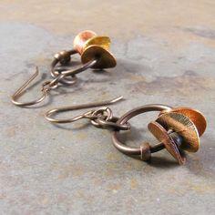 Copper Disks Brass Earrings by marciejanedesigns on Etsy, $40.00