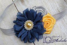 Navy Blue, Yellow and Gray Couture Flower Headband -  Newborn Headband - Girls Headband - Photography Prop