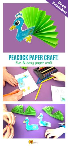 Peacock Paper Craft  In today's activity we will be creating a majestic and colorful peacock!  Here's what you'll need -  1. Our printable PDF sheet which you can download here -  2. Colorful card stock 3. Crayons 4. Scissors 5. A stapler 6. Glue  Have fun!