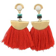 Spice up any outfit with these boho tassel red earrings. Material: Alloy mental color : gold