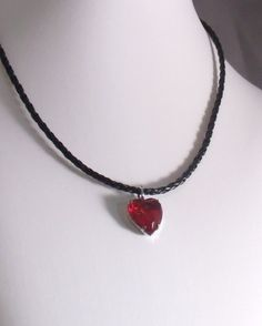 JULY BIRTHSTONE: RUBY  Rock Candy Ruby Red Heart of Glass by MatriarchbyFP on Etsy