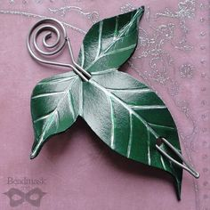 Elven Leaf Leather Hair Slide or Shawl Pin In Forest by beadmask
