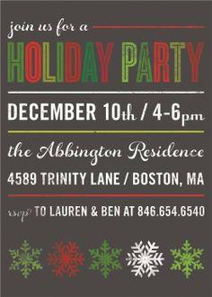 Typographic Holiday Party Invitation #holiday #party #invitation