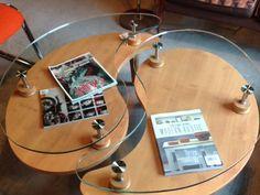 Wood and Glass Yin Yang Coffee Table. $375