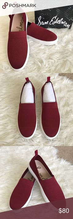 "🆕 Sam Edelman Santino Wine Slip On Sneakers ""Slip into comfort with the Santino sneaker from Sam Edelman. These casual shoes are the perfect addition to your low-top kicks."" Size 9.5M Color: Burgundy/Wine FEATURES * 		Fabric upper * 		Slip-on * 		Round toe * 		Fabric lining * 		Removable cushioned insole * 		Vulcanized rubber sole * 		Imported Brand New with Box! 🤗 Sam Edelman Shoes"