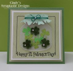 MCT Made in Minutes!!! I used the smaller Stitched Chunky Jar Dies, the I'm A Lucky Girl! Stamp Set for the clovers and sentiment, the All Around Holidays Stamp Set for the other clovers and the  Small Talk Stamp Set for the dots!!! http://www.cindybcreations.blogspot.ca/2014/03/mct-made-in-minutes.html