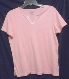 Basic Editions Pink Striped Top 100% Cotton Size M Short Sleeves V Neck #BasicEditions #KnitTop #Career