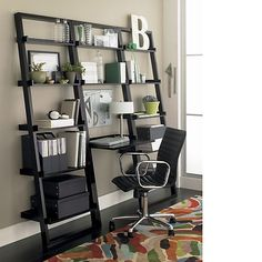 Crate and Barrel Sloane Leaning Desk and bookshelves.
