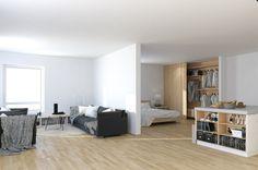 Scandinavian Studio Apartment - open plan partitioned bedroom living with storage island