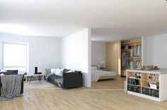 Scandinavian-Studio-Apartment-open-plan-partitioned-bedroom-living-with-storage-island.jpeg (1035×687)