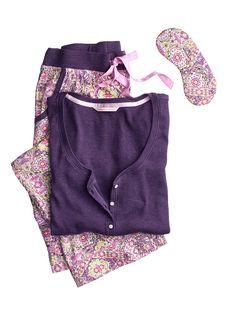 The Dreamer Henley Pajama: pink aztec Short length size small! Cute Sleepwear, Sleepwear & Loungewear, Nightwear, Lingerie Sleepwear, Cozy Pajamas, Pyjamas, Satin Pyjama Set, Pajama Set, Pajamas For Teens