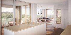 Interior rendering for a multi-family house in Alstätten designed by Huser Architects, Vaduz (FL) Double Vanity, Kitchen Island, Bathroom, Architecture, House, Home Decor, Island Kitchen, Washroom, Arquitetura