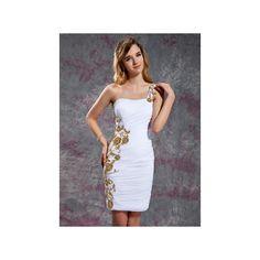 White Sheath Column One Shoulder Short Mini Chiffon Homecoming Dress... ($139) ❤ liked on Polyvore featuring dresses, white mini skirt, white sequin cocktail dress, lace homecoming dresses, white lace dress and white cocktail dresses