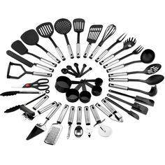 Best Choice Products Home Kitchen All-Purpose Stainless Steel and Nylon Cooking Baking Tool Gadget Utensil Set for Scratch-Free Dishes - Black/Silver Image 1 of 6 Cooking Utensils Set, Kitchen Utensil Set, Cooking Dishes, Cool Kitchen Gadgets, Kitchen Items, Kitchen Dining, Kitchen Tools, Baking Tools, Black Kitchens