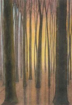 The Wood at Sunrise - Sous-Bois au Lever du Soleil By Leon Spilliaert ,1941