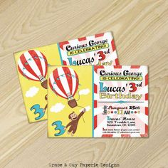 Curious George Birthday  Curious George Invitation  by GraceandGuy, $13.75