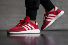 4331bf753ea Chaussures de sport New 2017 adidas Iniki Runner Boost Red On Feet Youth  Big Boys Sneakers