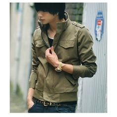 Men Autumn Style Pockets Decorated Long Sleeve Cotton Army Green... ($37) via Polyvore