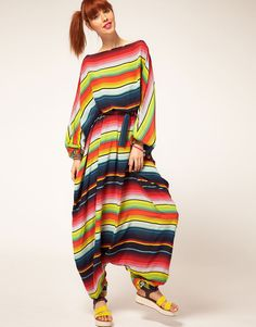 House of Holland Stripe Harem Jumpsuit in Silk. This just looks so comfortable! It would be like wearing sweats . Ugly Dresses, Ugly Outfits, Stylish Outfits, Modest Fashion, Fashion Dresses, Bristol Fashion, Mode Simple, Fashion Fail, Couture Dresses