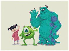 PDF Cross Stitch pattern Monsters Inc INSTANT door PIXcross