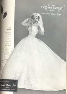 An Alfred Angelo original designed by Edythe Vincent, vintage designer fashion bride ad from 1955