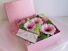 Flower Box - gerbera, dianthus, eustoma, santini, wax Gerbera, Flower Boxes, Fresh Flowers, Wax, Presents, Gift Wrapping, Gifts, Window Boxes, Gift Wrapping Paper