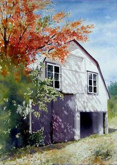Gaetane Lessard ~ Barn In Late Summer Watercolor Landscape, Watercolour Painting, Landscape Art, Painting & Drawing, Watercolor Illustration, Watercolor Architecture, Barn Art, Traditional Paintings, House Painting