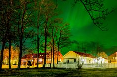 Aurora in Town, Trondheim by Aziz Nasuti on Trondheim, Aurora, Southern, Cabin, Lights, House Styles, Nature, Painting, Home Decor