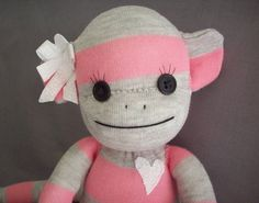 Sock Monkey Doll in Pink and Grey Stripes by warmpersonality, $35.00