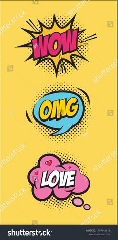 Wow Omg Love Speech Bubble Pop Stock Vector (Royalty Free) 1407344618