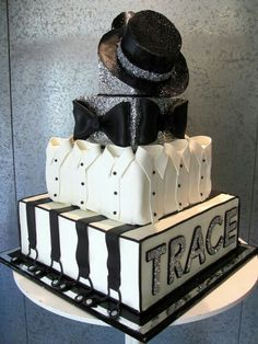 Hollywood Glam Black and White Grooms Cake