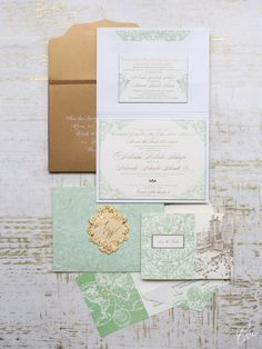 Exquisite sage white and gold #wedding invites from Ceci New York via #OneWediPad