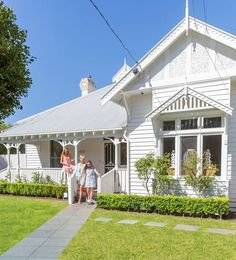 The triple-fronted weatherboard exterior really appealed to the Rogers family who decided to retain most of the original period features as well as the original floorplan. White Exterior Houses, Exterior House Colors, White Houses, Exterior Design, Ranch Exterior, Exterior Paint, White Cottage, Coastal Cottage, Cottage Style