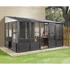 Sojag Charleston Aluminum Sunroom Kit Add a Room Patio Solarium – The Better Backyard Patio Pergola, Screened In Patio, Back Patio, Pergola Plans, Pergola Kits, Backyard Patio, Pergola Ideas, Small Patio, Cedar Pergola