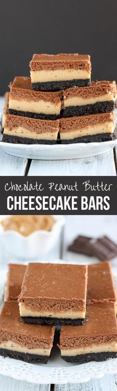 SO DECADENT! Everything I love in one bar!! Layered Peanut Butter and Chocolate Cheesecake Bars recipe