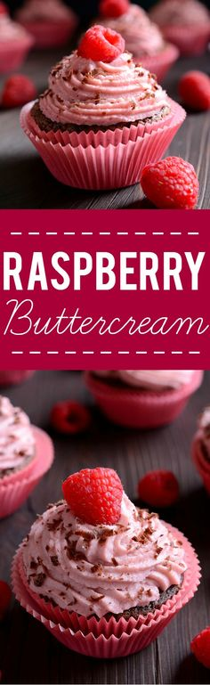 Raspberry Buttercream Frosting Recipe -Sweet and tangy raspberry buttercream recipe is easy to make and is the perfect finishing touch for your favorite cake or cupcakes!