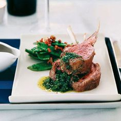 Oven-Roasted Lamb Chops with a Mint Chimichurri For this playful twist on British roast lamb with mint jelly, Luke Mangan serves lamb chops with a piquant condiment of fresh mint and jalapeno. Best Lamb Recipes, Wine Recipes, Great Recipes, Pasta Recipes, Recipe Ideas, Roasted Lamb Chops, Roasted Meat, Roast Rack Of Lamb, Cream Sauce Pasta