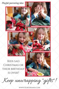My kids are always bummed after the last presents are unwrapped. This is such an easy idea to play at unwrapping pretend gifts! Helps kids get over the disappointment of no more presents, plus gives a fun way to connect and make believe. Natural Parenting, Kids And Parenting, Christmas Is Over, Natural Hair Care Tips, Attachment Parenting, Disney Crafts, Activities To Do, Natural Baby, Sewing For Kids