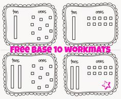 Base 10 Worksheets (free; from Little Miss Glamour Goes To Kindergarten)