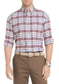 Izod Men's Oxford Plaid Button Down Shirt - Fig - 2Xl