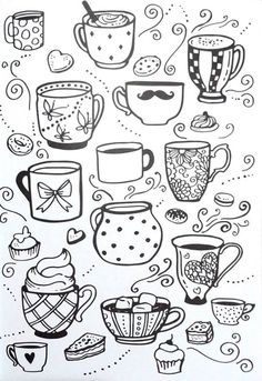 Livro de Colorir Arteterapia Criativa – Adult Coloring pages Cupcake cup tea – I… Coloring Book Creative Art Therapy – Adult Coloring pages Cupcake cup tea – Ideas In Crafting Doodle Art, Doodle Drawings, Easy Drawings, Doodle Images, Adult Coloring Pages, Colouring Pages, Coloring Books, Cupcake Coloring Pages, Learn To Draw