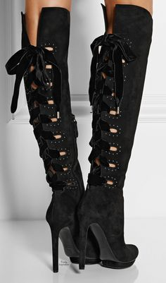 Alexander McQueen Cutout suede knee boots | Purely Inspiration http://www.net-a-porter.com/product/472155/Alexander_McQueen/cutout-suede-knee-boots#