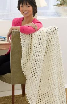 Peaks and Valley Throw Free Crochet Pattern from Red Heart Yarns