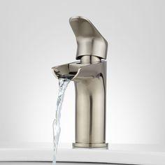 Pagosa Waterfall Single-Hole Bathroom Faucet - Brushed Nickel, 150.00