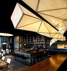 From Nir Portal and Liat Essig (Israel): Interior Lighting design of 'one'- sushi restaurant Bar Restaurant Design, Restaurant Lighting, Restaurant Concept, Restaurant Restaurant, Sushi Restaurants, Design Blog, Cafe Design, Japan Design, Tel Aviv