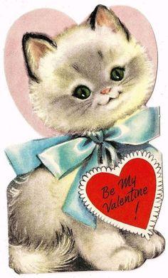 "Sweet fluffy white kitty cat says ""be my valentine"" / vintage valentine card"