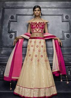 Beige Indian designer wedding wear lengha choli in net