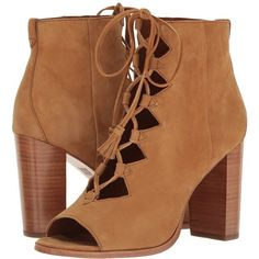 Frye Gabby Ghillie (Camel Suede) Women's Shoes (310 CAD) ❤ liked on Polyvore featuring shoes, boots, ankle booties, ankle boots, suede ankle booties, peep toe ankle booties, camel booties, suede peep toe booties and suede boots