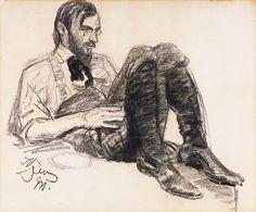 Leon Wyczółkowski (Polish, 1852-1936), Portrait of a Young Man, 1911. Black crayon on paper, 38 x 46cm. Private collection.